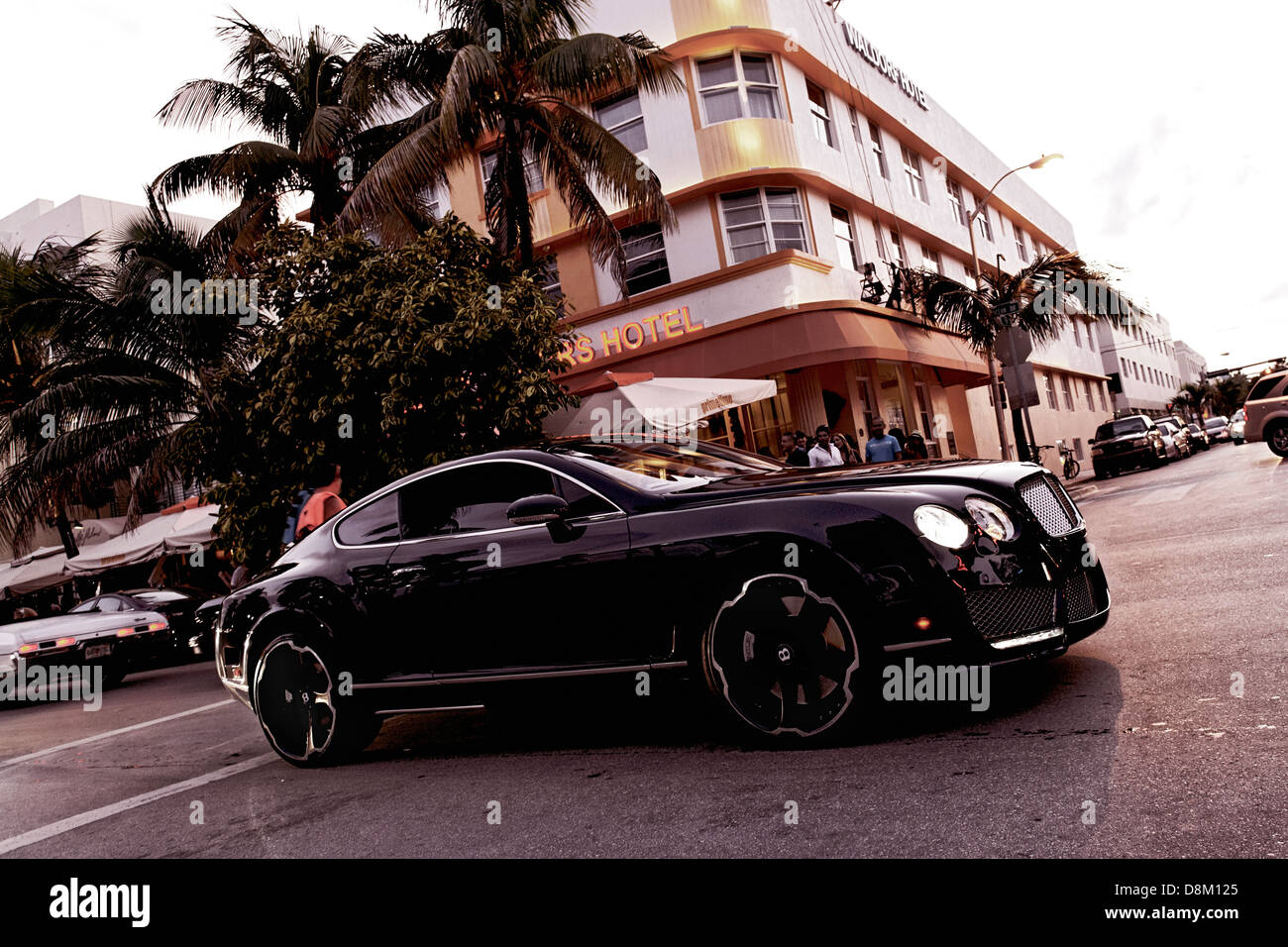 Luxury sports cars on Ocean Drive, Miami, Florida, USA - Stock Image