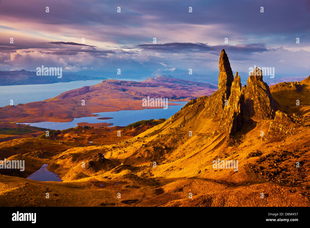 The Old Man of Storr at dawn sunrise Trotternish peninsula Isle of Skye Highlands and Islands Scotland UK GB EU - Stock Image