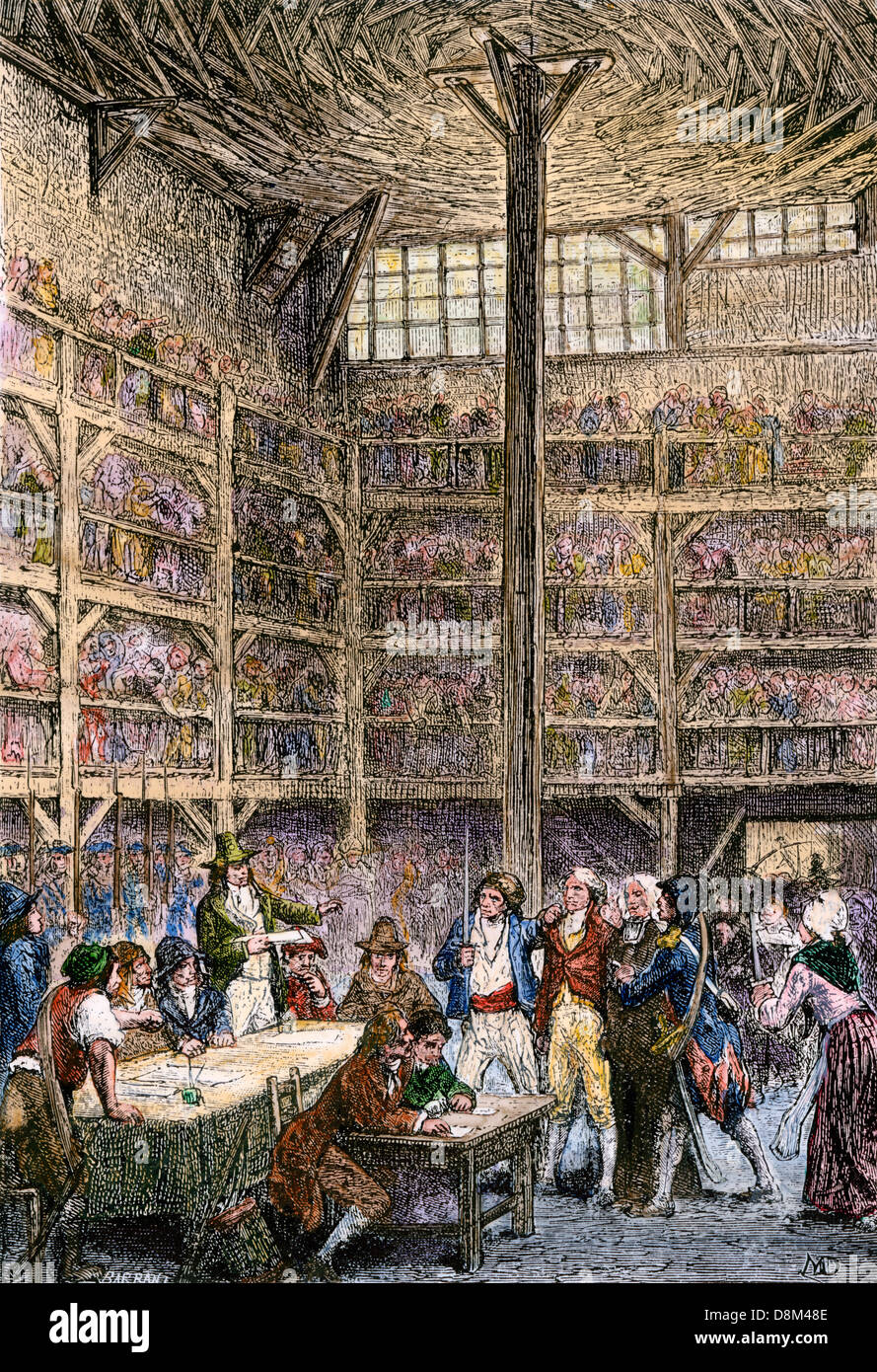 Revolutionary tribunal in the Abbey during the Reign of Terror, French Revolution. Hand-colored woodcut - Stock Image
