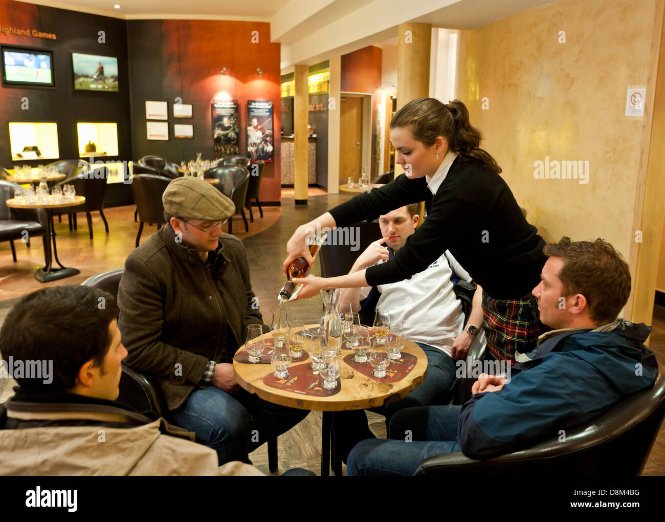 whisky tasting and sampling at the Glenfiddich whisky distillery visitors centre  Dufftown Speyside Scotland UK - Stock Image
