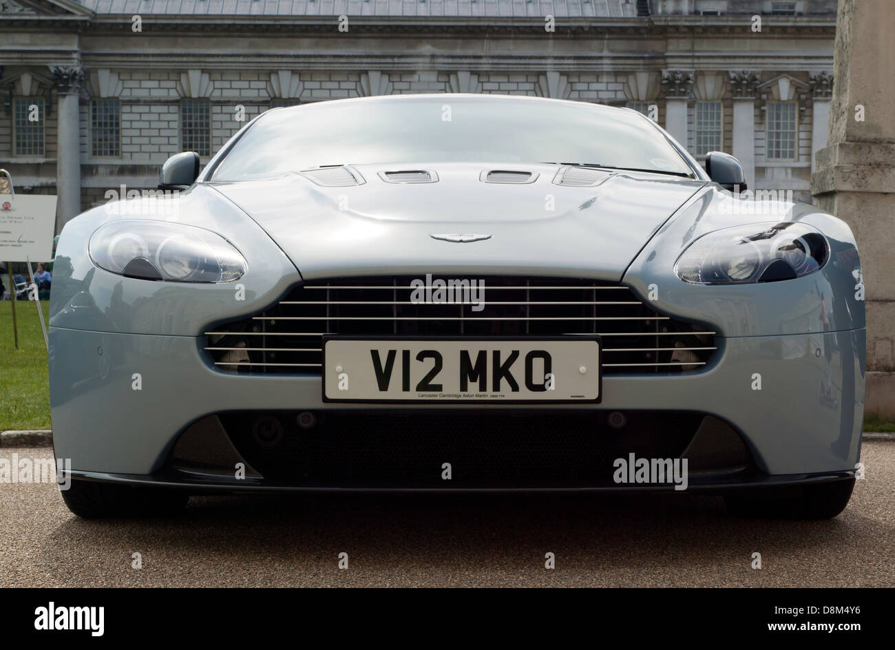 Front View Of An Aston Martin V12 Vantage On Display At The Old