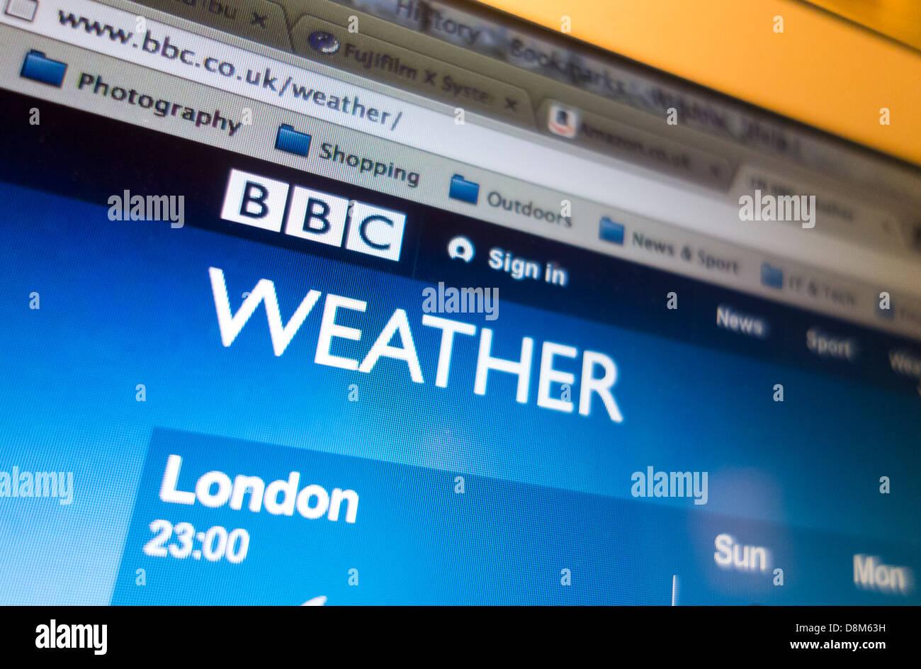 BBC Weather Homepage - Stock Image