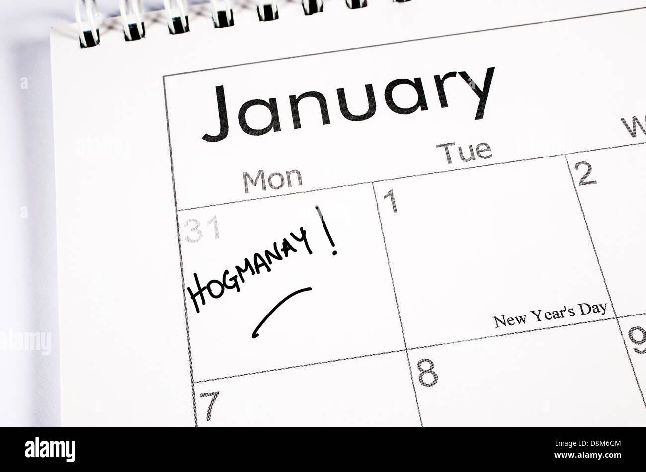 Calendar page with New Year's Eve noted with the word Hogmanay written in the date space - Stock Image