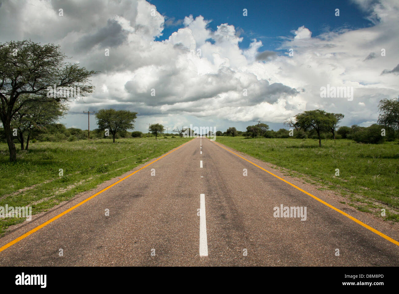 A cloudy day on the road in Botswana - Stock Image