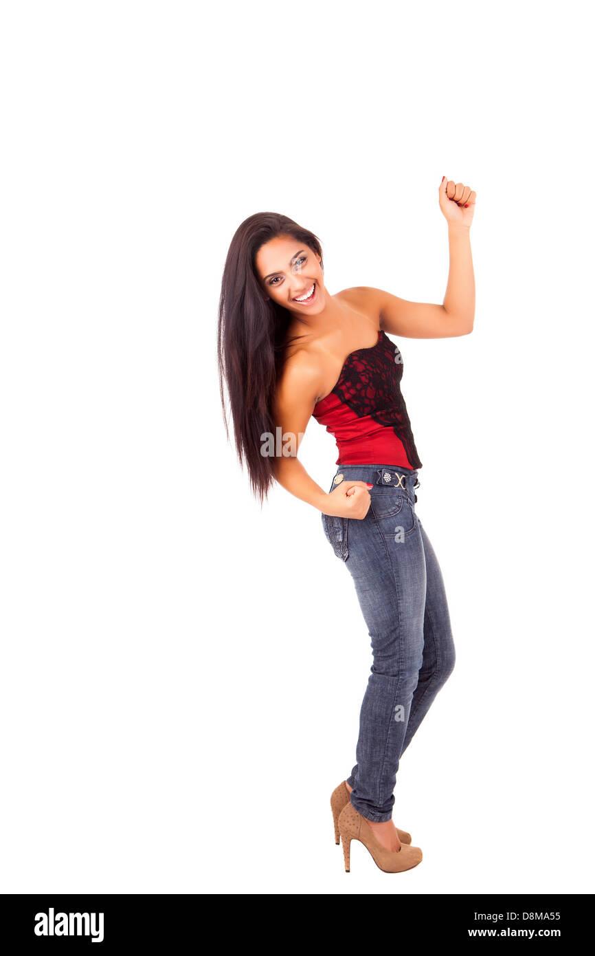 Beautiful mix race woman posing over white background - Stock Image