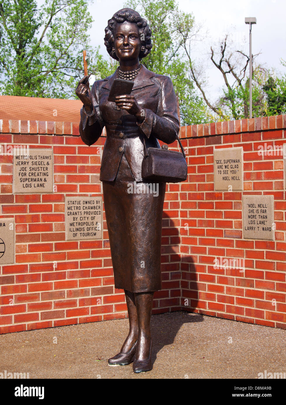 Metropolis Illinois Home of Superman Lois Lane Statue - Stock Image