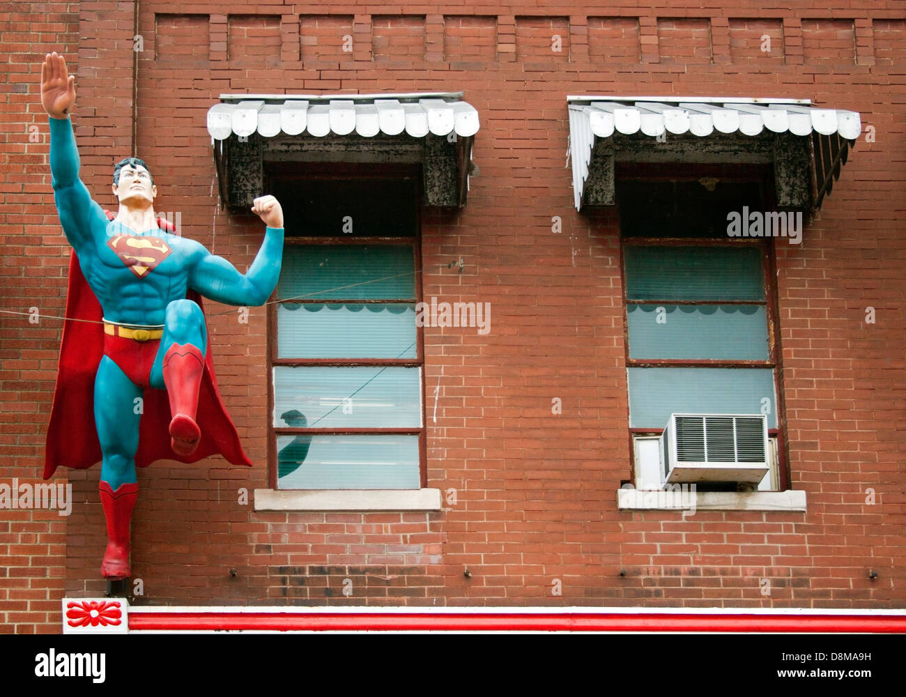 Metropolis Illinois Home of Superman statue at the Super Museum - Stock Image