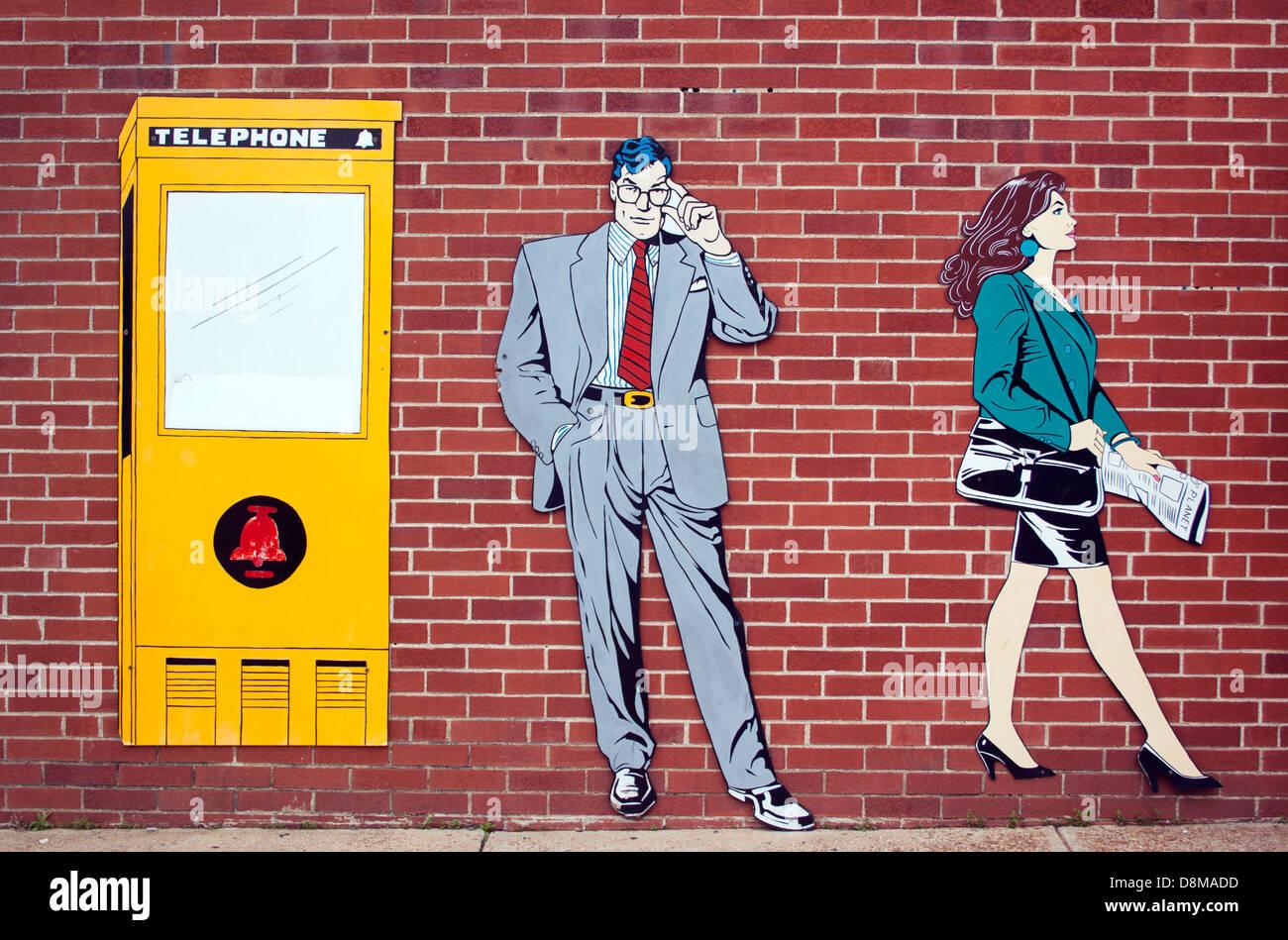 Metropolis Illinois Home of Superman painting on a brick wall - Stock Image