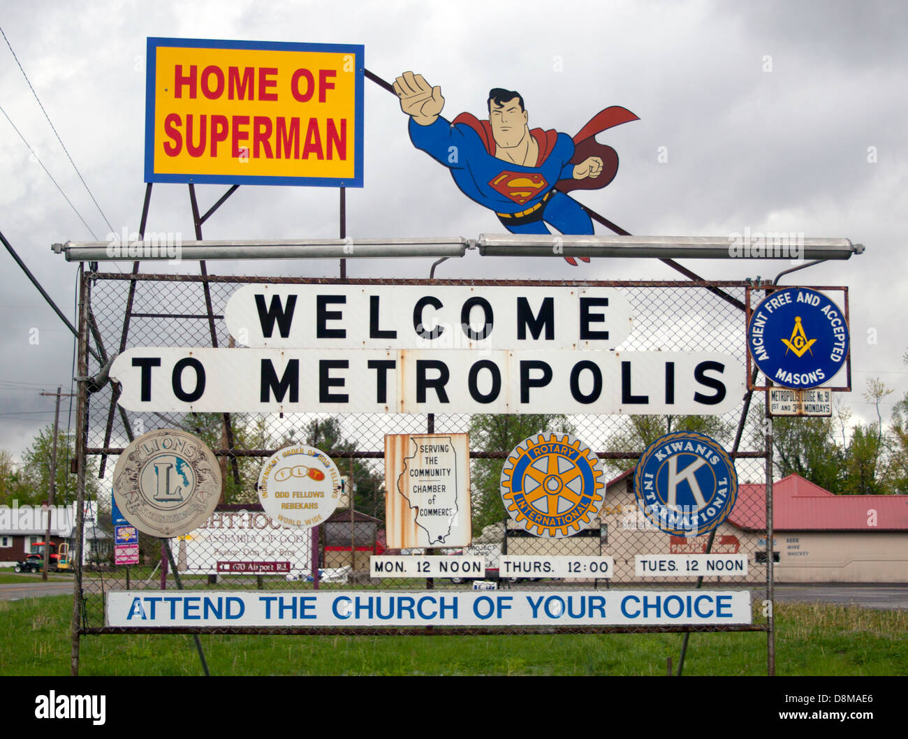 Welcome to Metropolis Illinois Home of Superman Sign - Stock Image