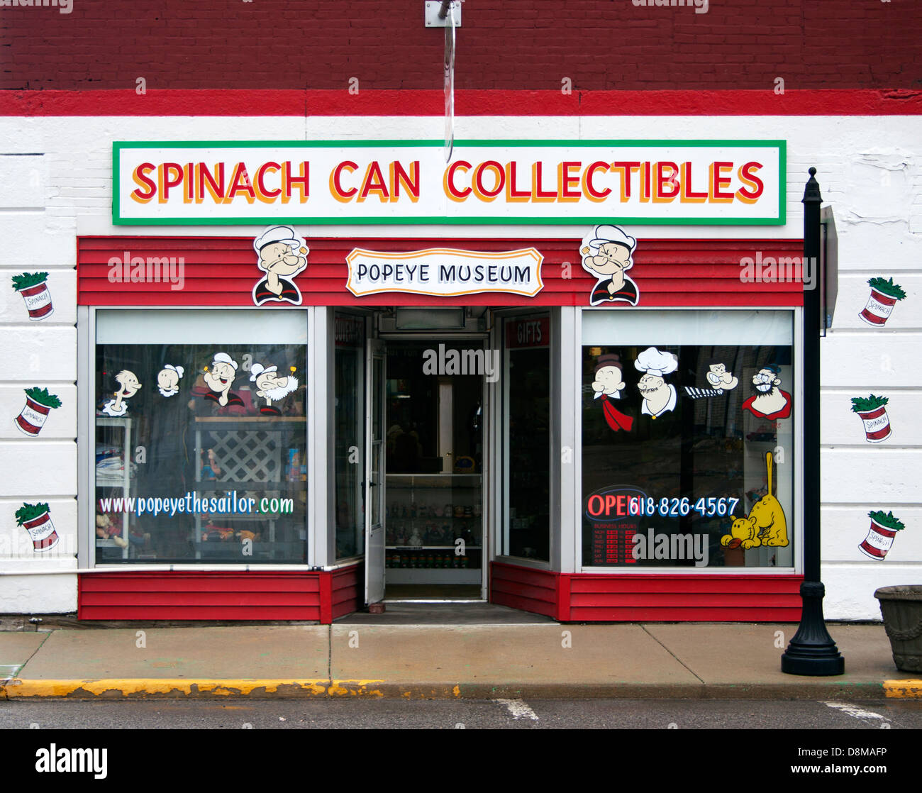 Spinach Can Collectibles Popeye Museum in Chester Illinois - Stock Image