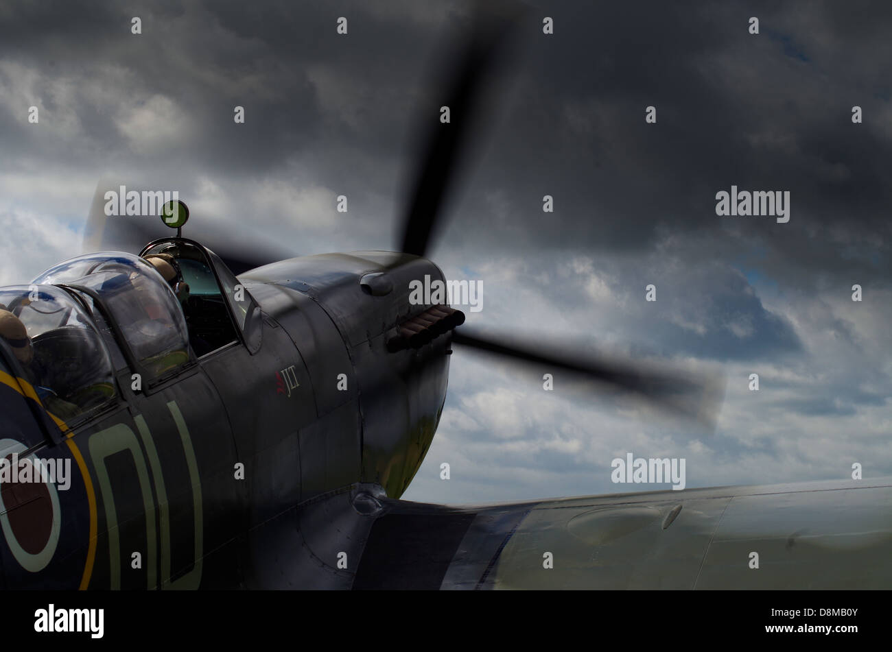 Twin seat Spitfire starts up and is about to take off - Stock Image