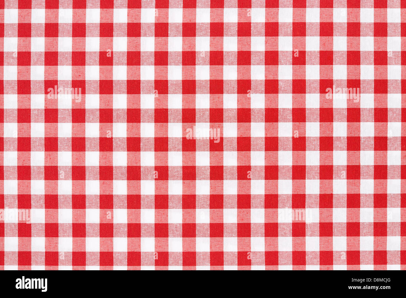 Red and white tablecloth texture background - Stock Image
