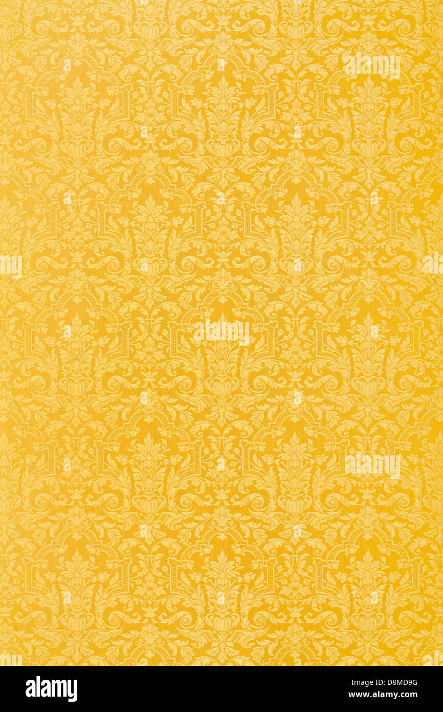 Floral gold wallpaper texture background - Stock Image