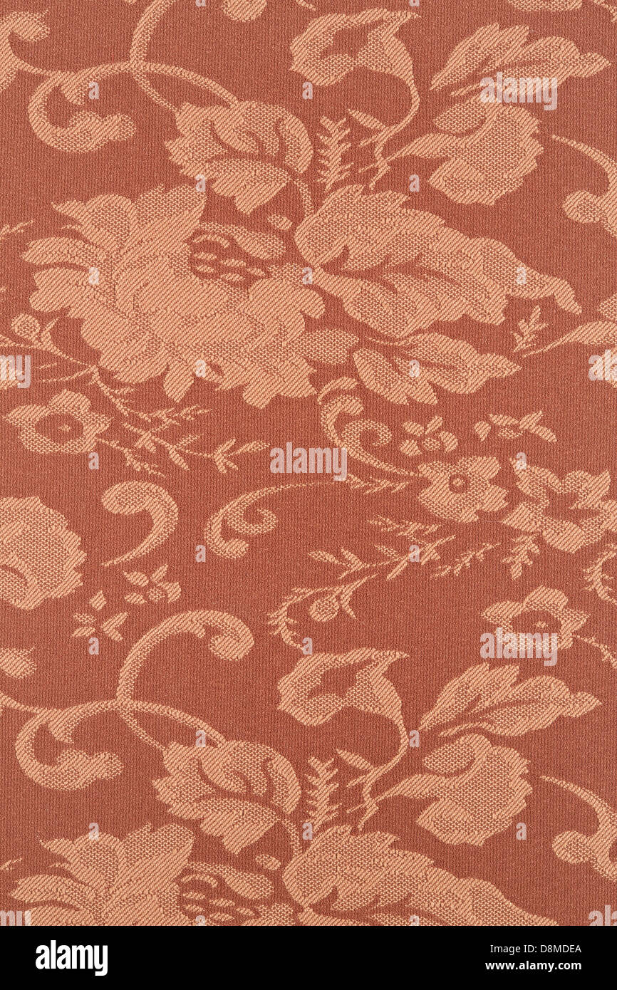 Floral brown wallpaper texture background, high detail fabric - Stock Image