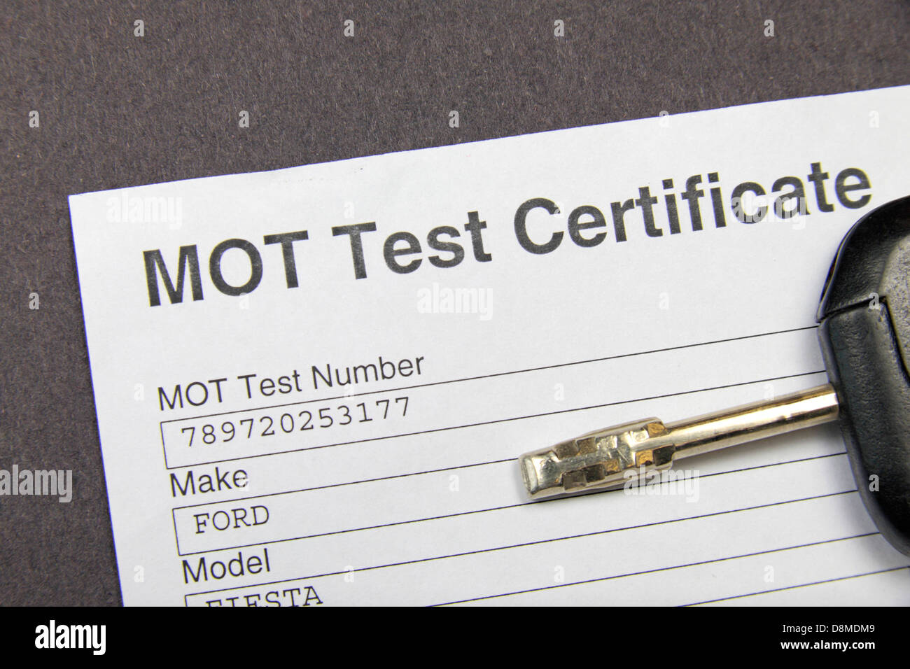 A British MOT Test certificate as issued by the VOSA (Vehicle & Operator Services Agency) in May 2013. - Stock Image
