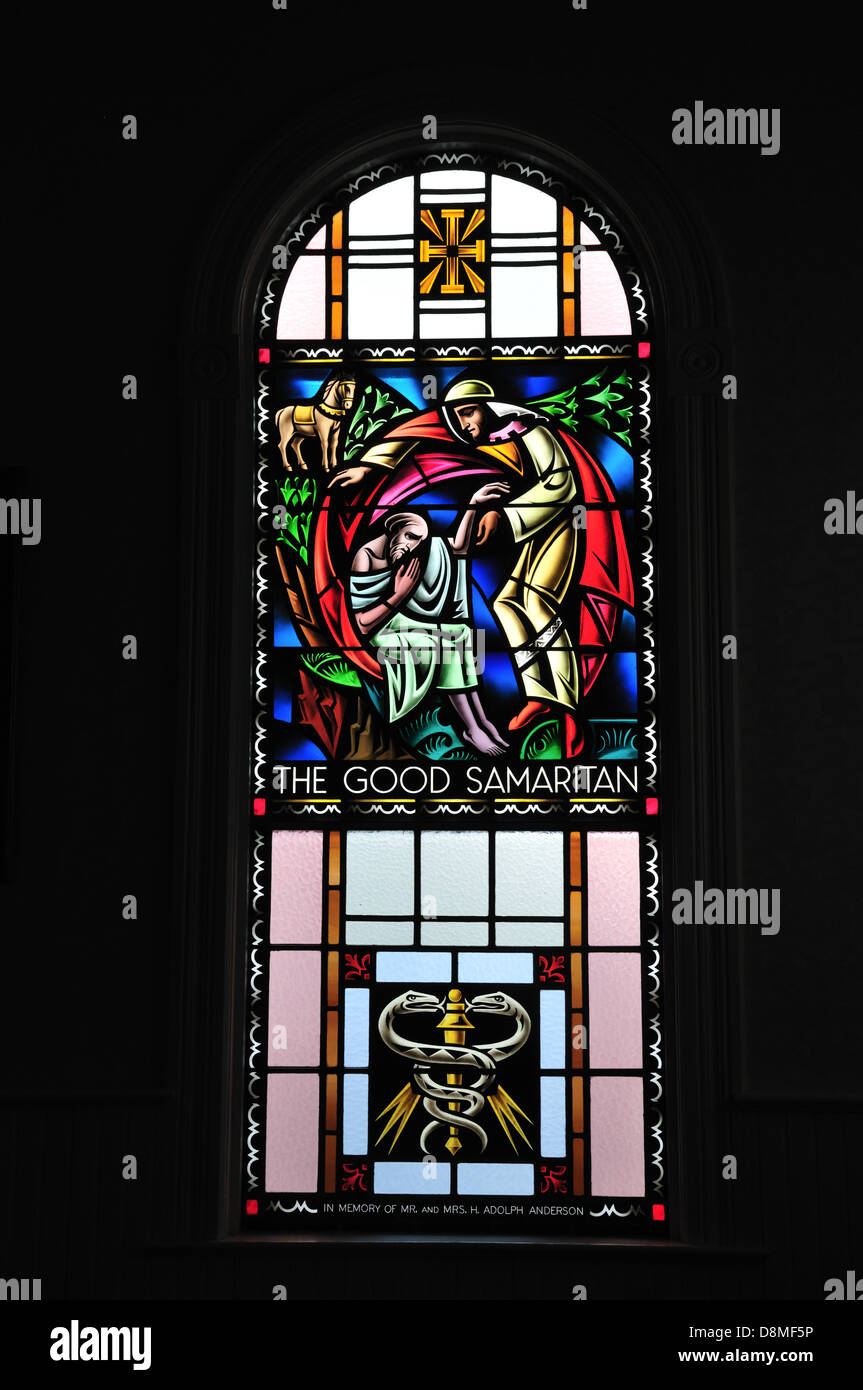 Stained glass window in the Moravian church, Ephraim, Door County, Wisconsin - Stock Image