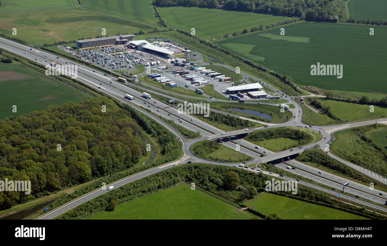 aerial view of Wetherby motorway services on the A1M - Stock Image