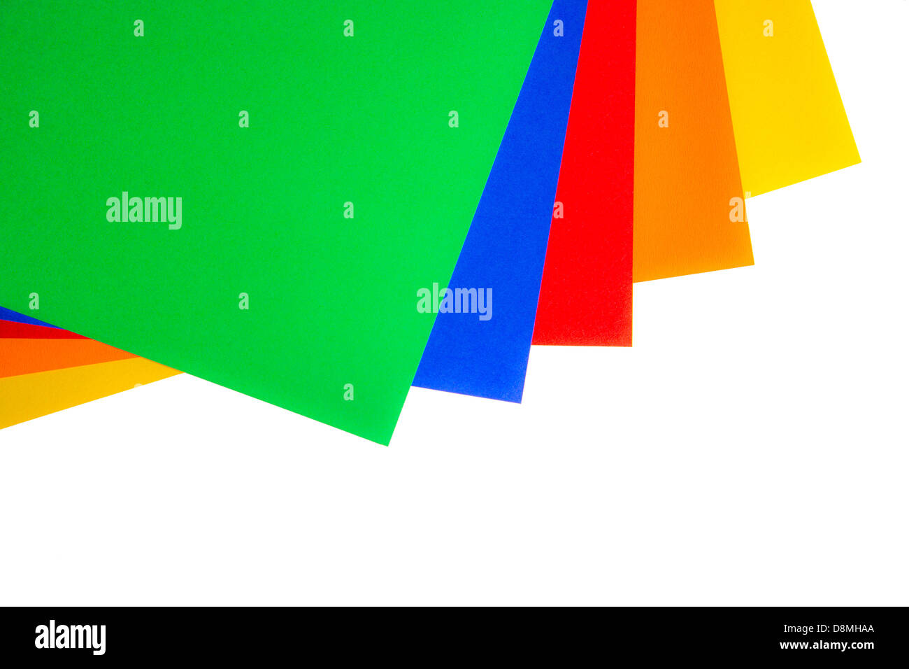 Sheets of paper with different colors green, blue, red, orange and yellow - Stock Image