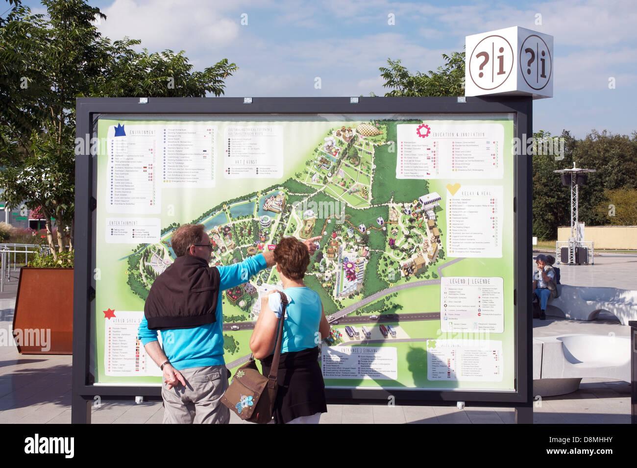 Giant map of the Floriade 2012 garden festival Venlo, Netherlands. - Stock Image
