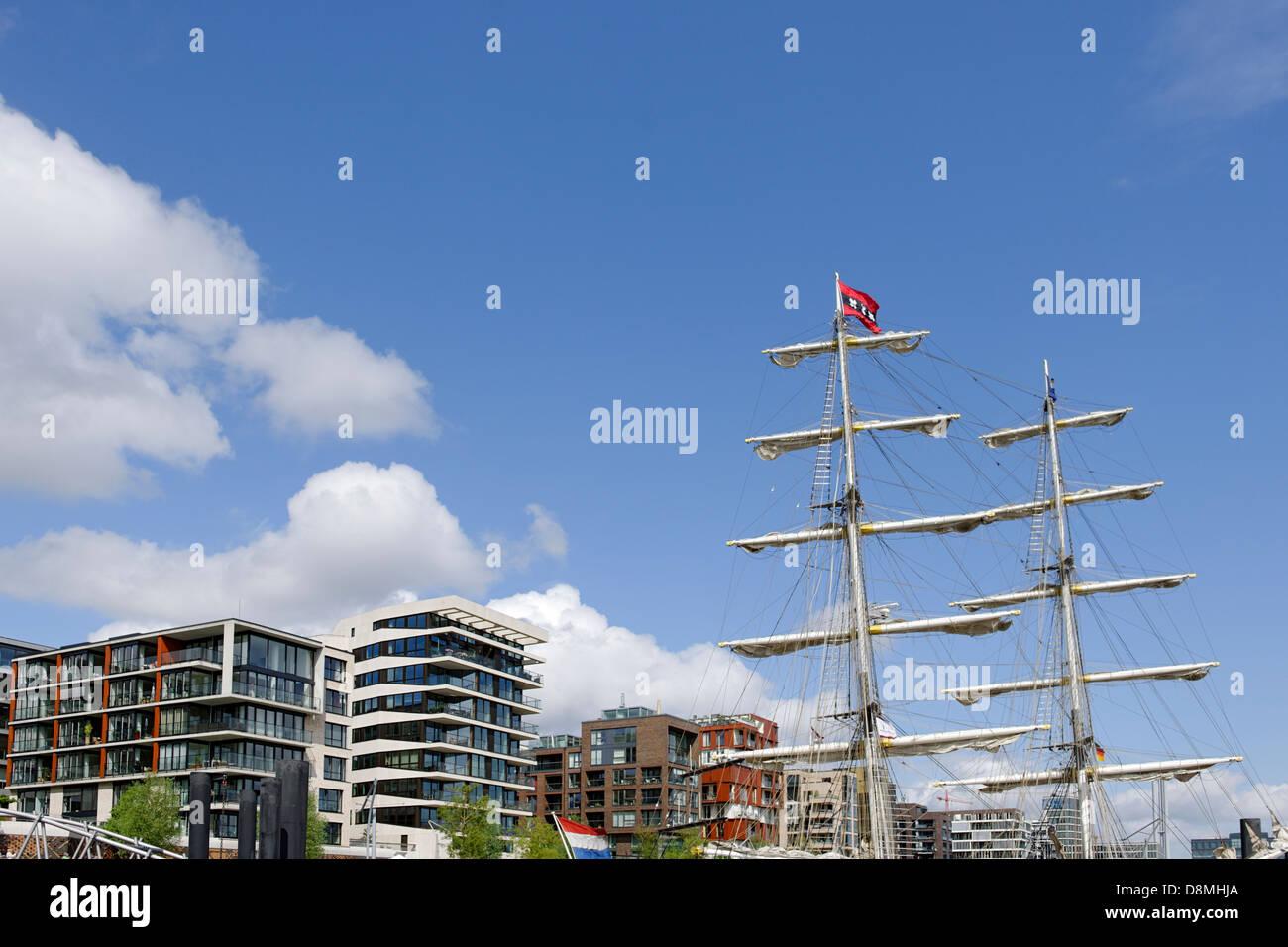 Sailing ships in the harbor, Hamburg, Germany - Stock Image
