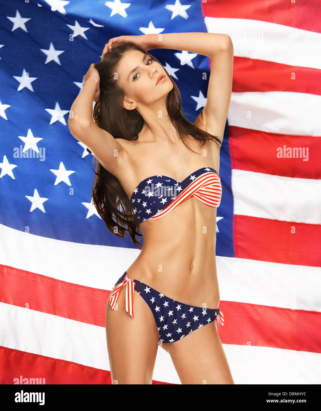 989c339e689ca model in bikini with american flag Stock Photo: 57001488 - Alamy