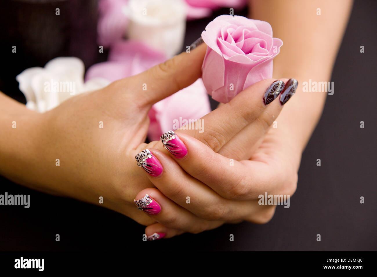 Women's manicure arranged - Stock Image