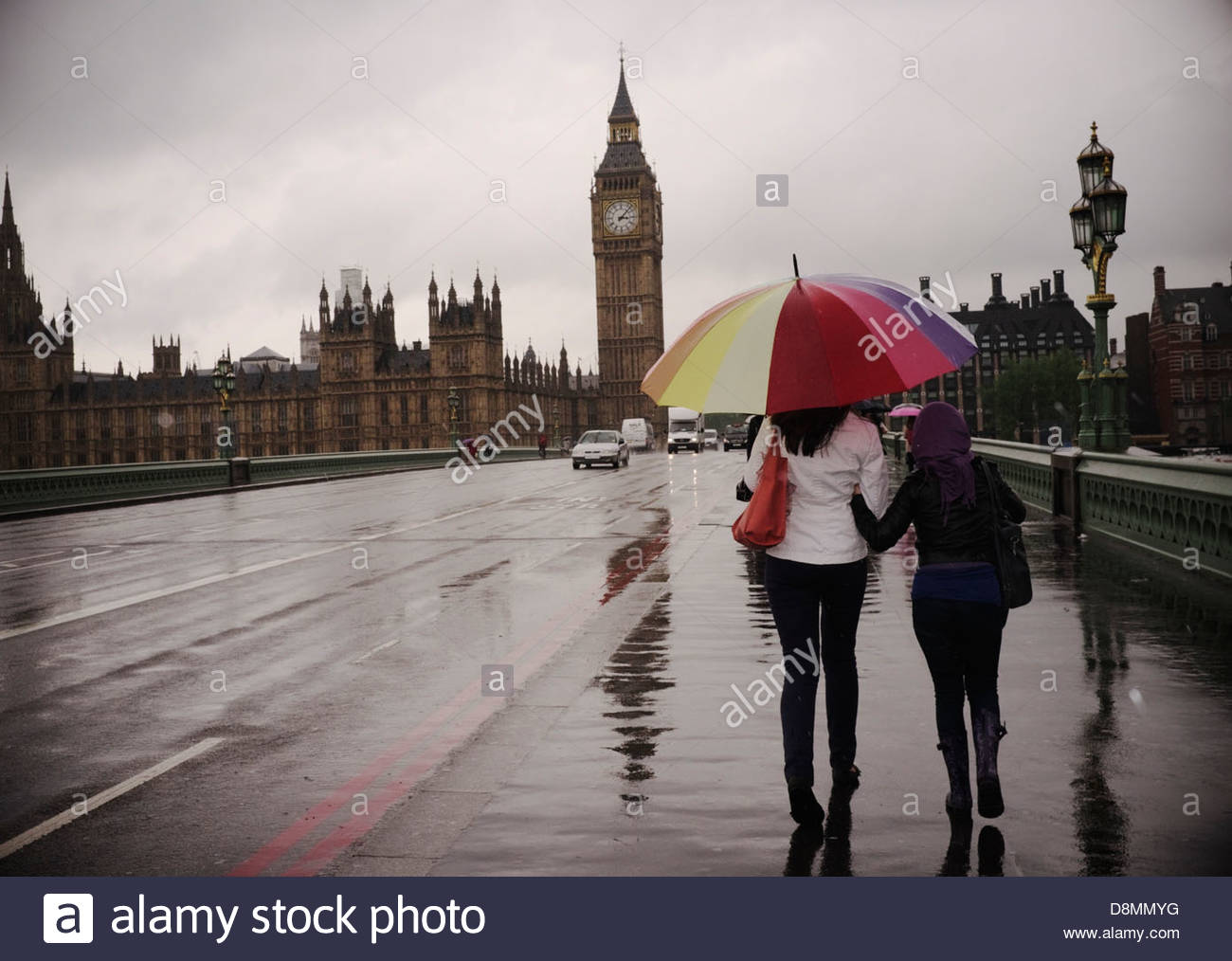 A rainy day in London, on Westminster Bridge. London, UK. - Stock Image