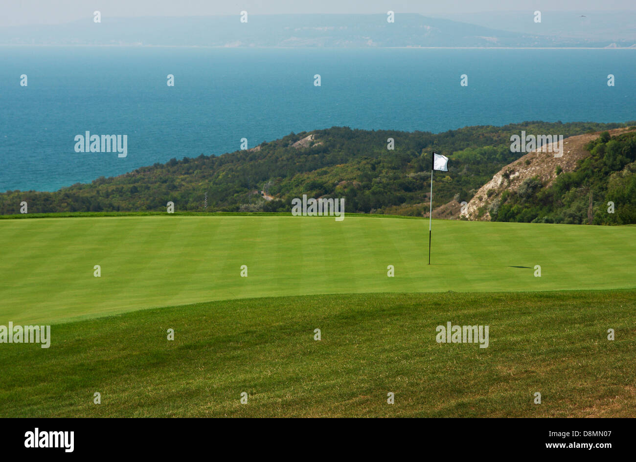 Golf ball in a green course and hole - Stock Image