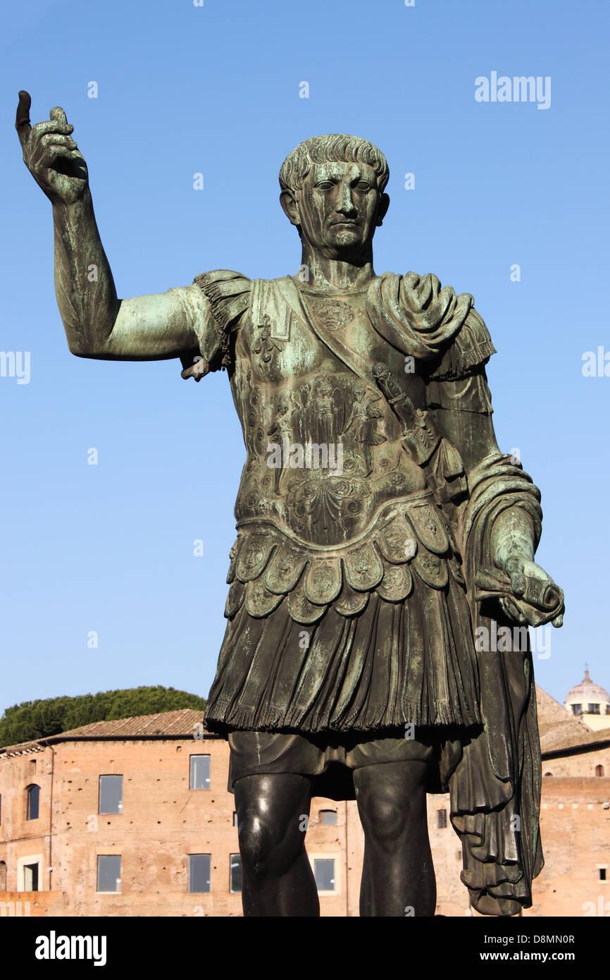 Statue of emperor Trajan in Rome, Italy Stock Photo