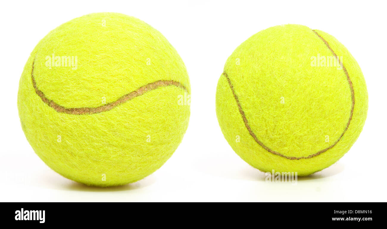 Tennis balls isolated on white - Stock Image