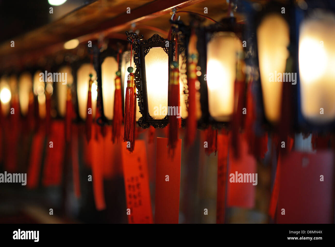 Interior lanterns of Man Mo Temple in Hong Kong, China. - Stock Image
