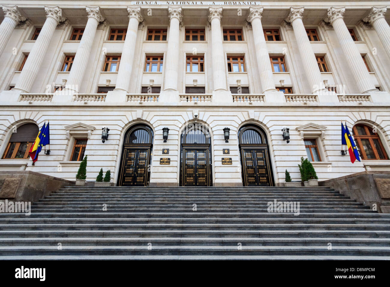 The facade and front of the newly renovated romanian national bank - Stock Image