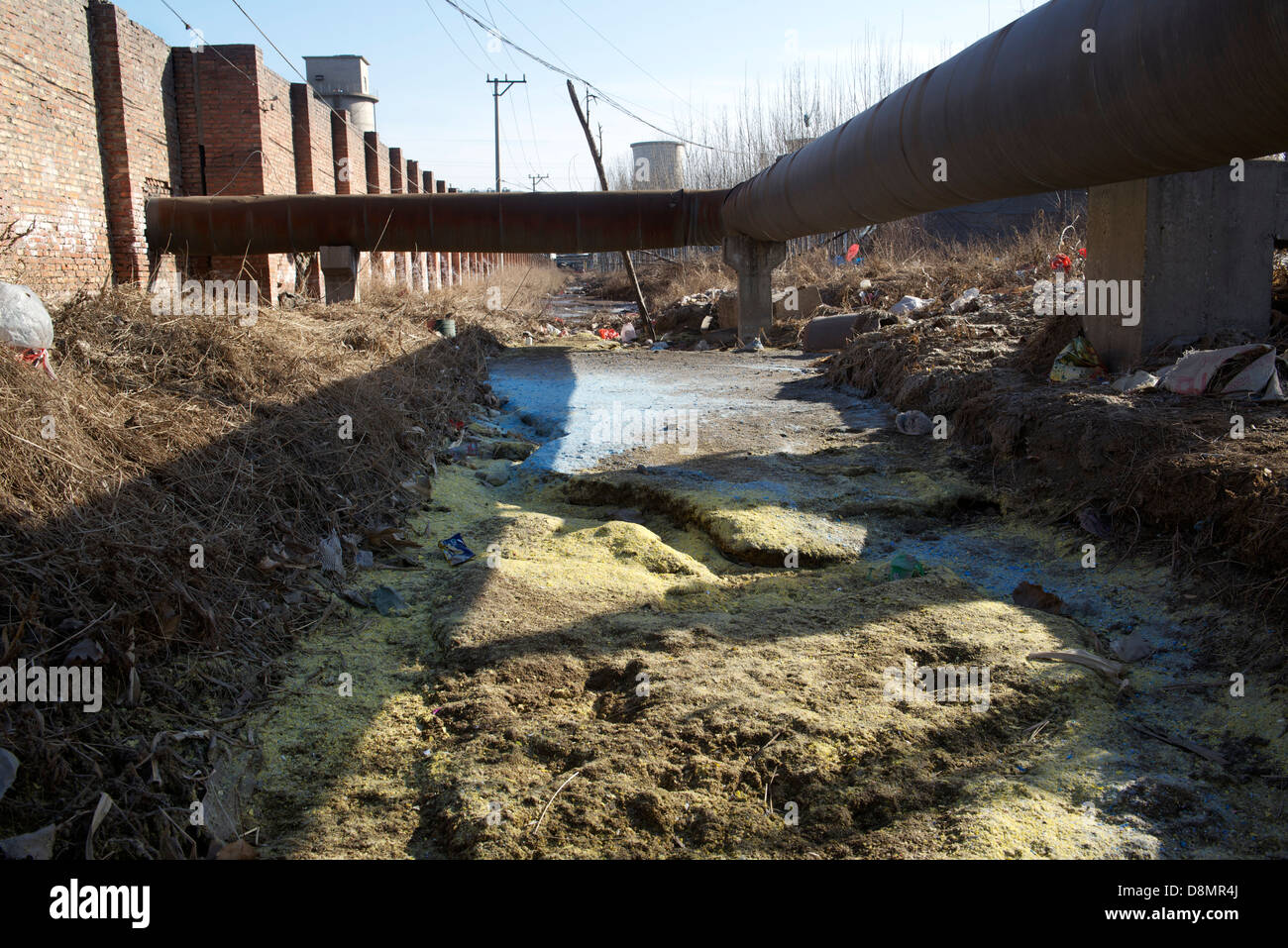 A badly polluted ditch between a Monosodium Glutamate Factory and a small chemical fertilizers factory in a village - Stock Image
