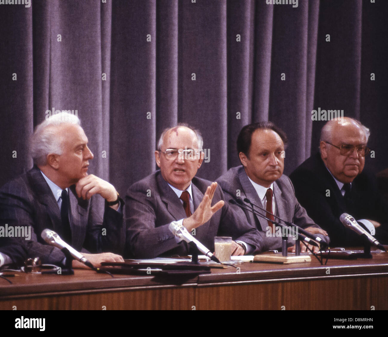 June 3, 1988 - Moscow, RU - Soviet leader MIKHAIL GORBACHEV gestures while answering a question at a press conference - Stock Image