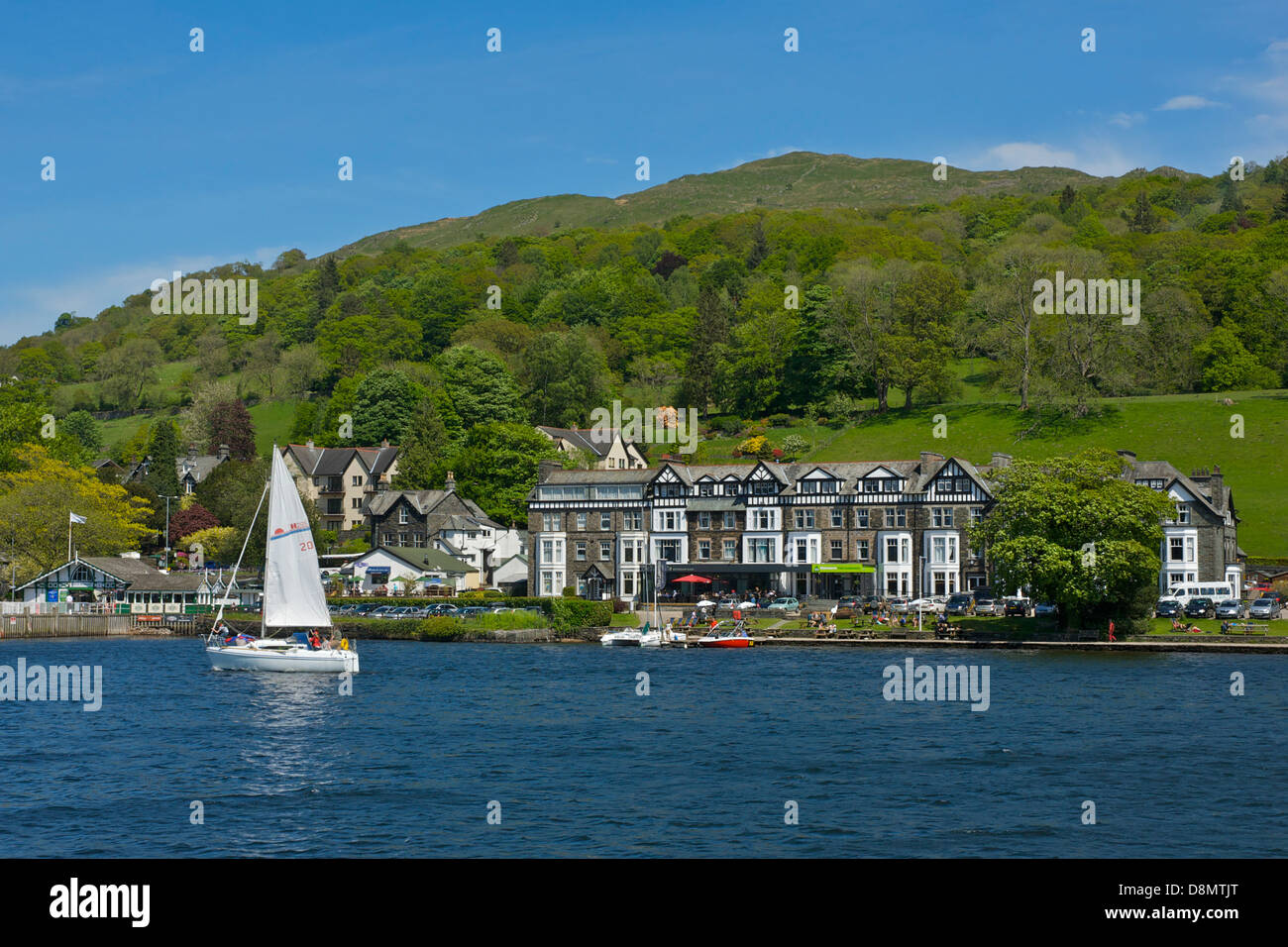 Ambleside Youth Hostel at Waterhead, Lake Windermere, Lake District National Park, Cumbria, England UK - Stock Image