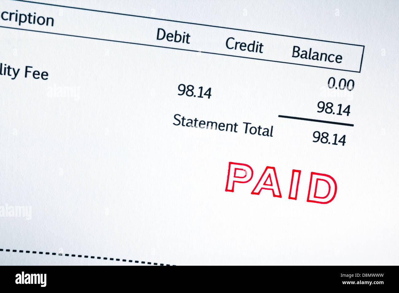 Invoice with Paid Stamp - close-up of invoice with Paid stamp, figures are imaginary. - Stock Image
