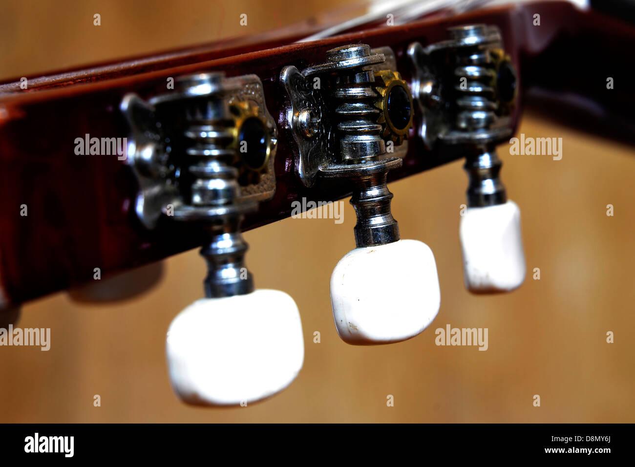 guitar,neck,string,key,tune,music - Stock Image