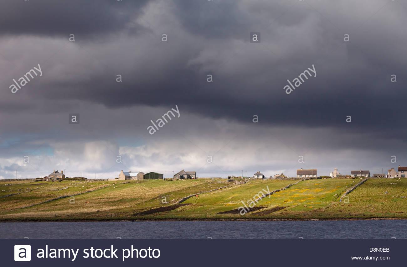 Dark skies over Brue, near Barvas, Isle of Lewis, Outer Hebrides, Scotland, United Kingdom - Stock Image