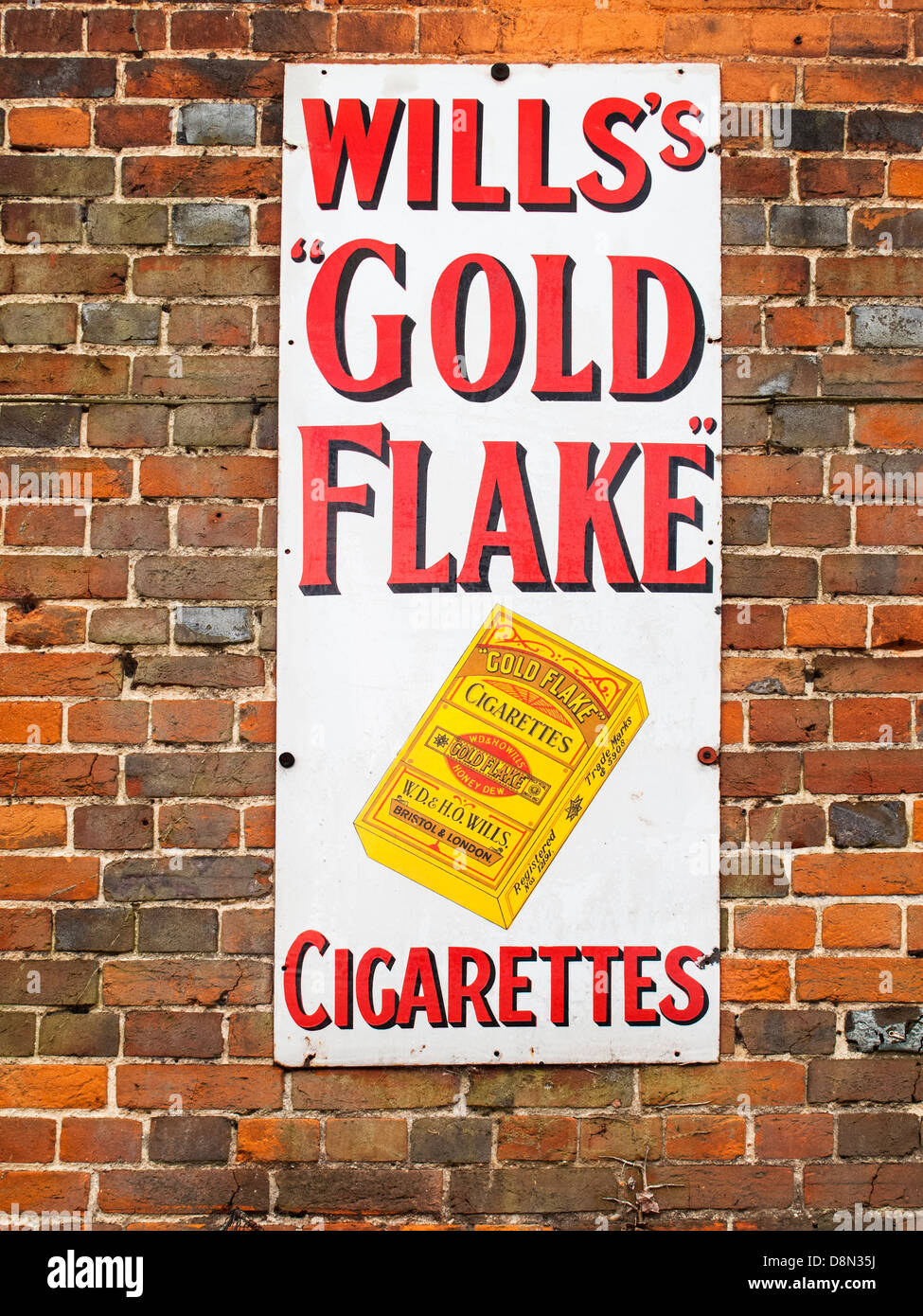 Vintage enamel advertising sign - Wills's Gold Flake cigarettes - Stock Image