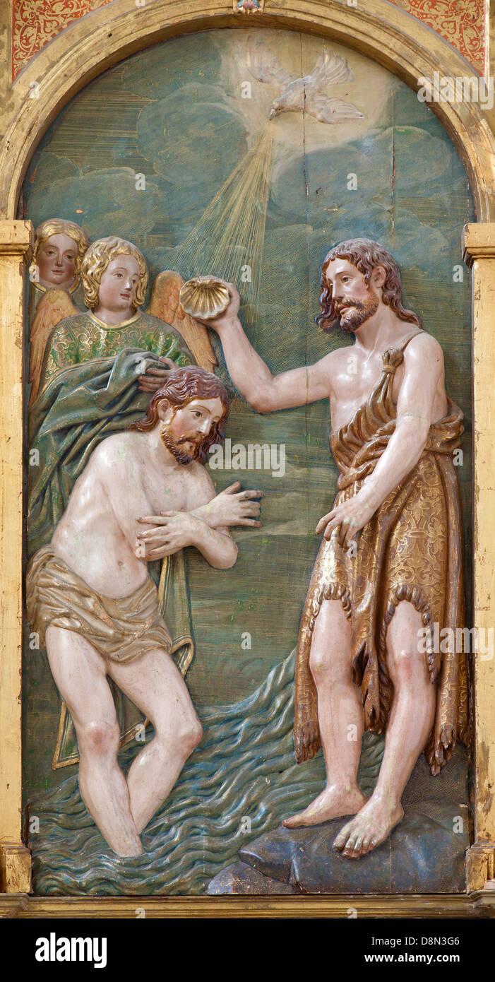 TOLEDO - MARCH 8: Relief of Baptism of Christ in Monasterio San Juan de los Reyes - Stock Image