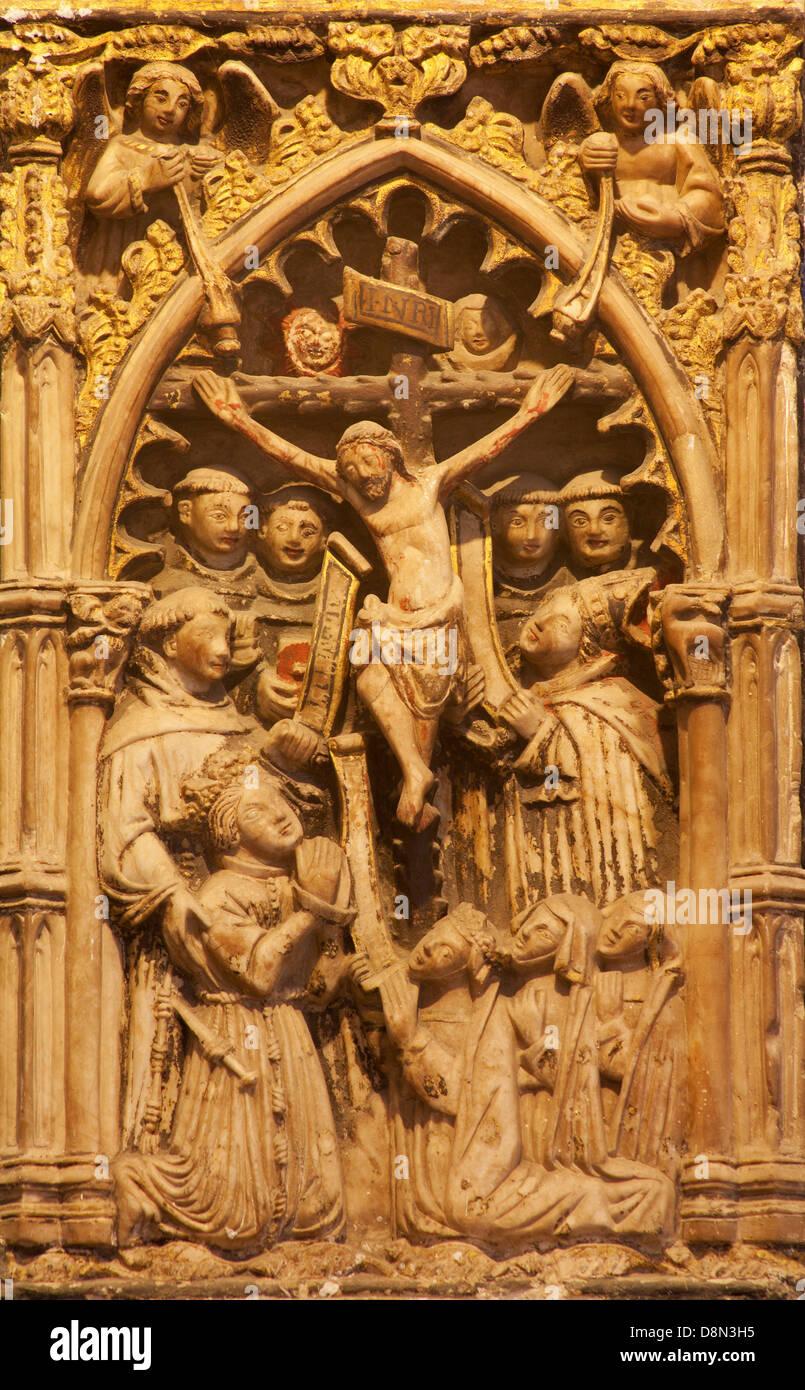 TOLEDO - MARCH 8: Detail from portal of Gothic atrium of Monasterio San Juan de los Reyes Stock Photo