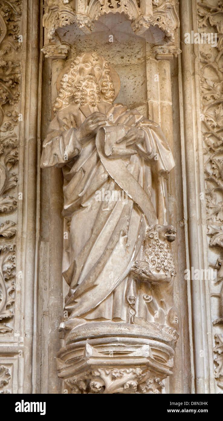 TOLEDO - MARCH 8: Saint Mark the Evangelist statue from atrium of Monasterio San Juan de los Reyes Stock Photo