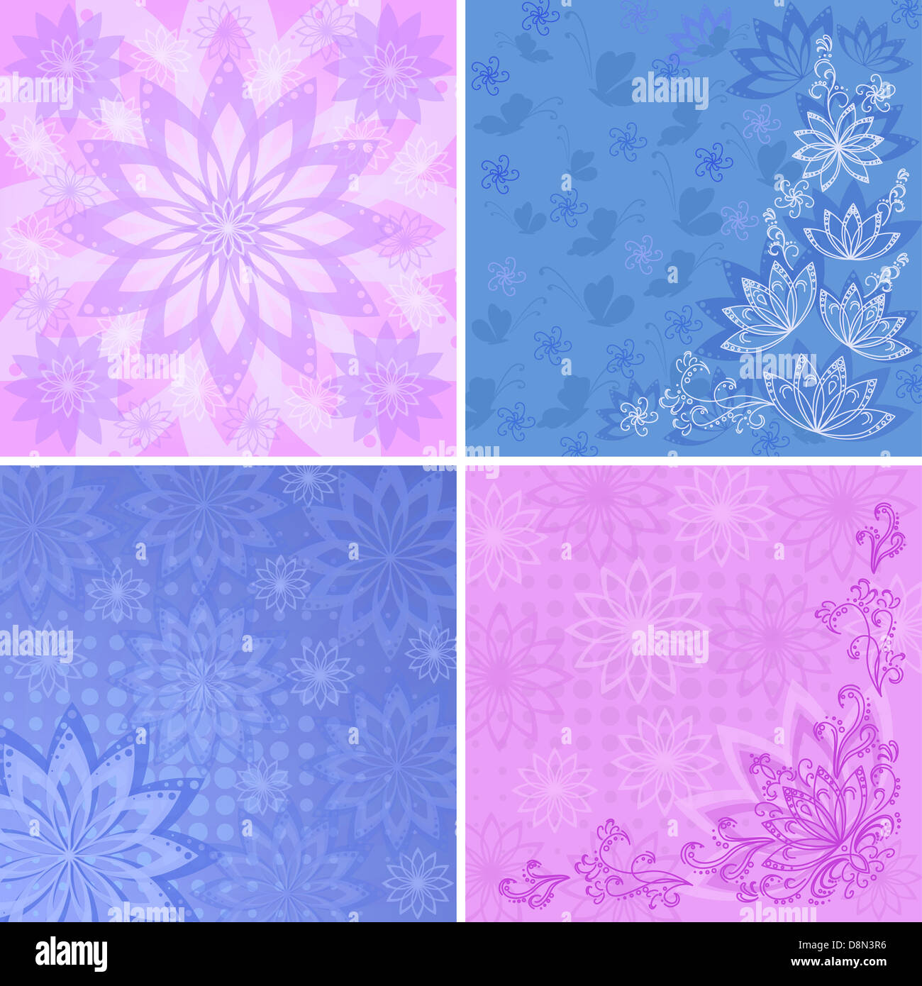 Set Abstract Floral Backgrounds Stock Photo 57012346 Alamy