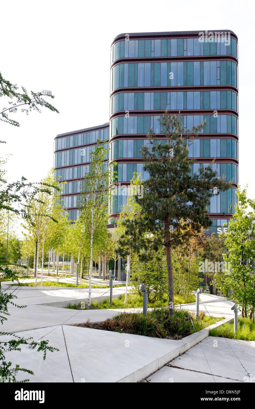 Modern architecture, Vesterbro, Sydhavnen, Copenhagen, Denmark, Europe - Stock Image
