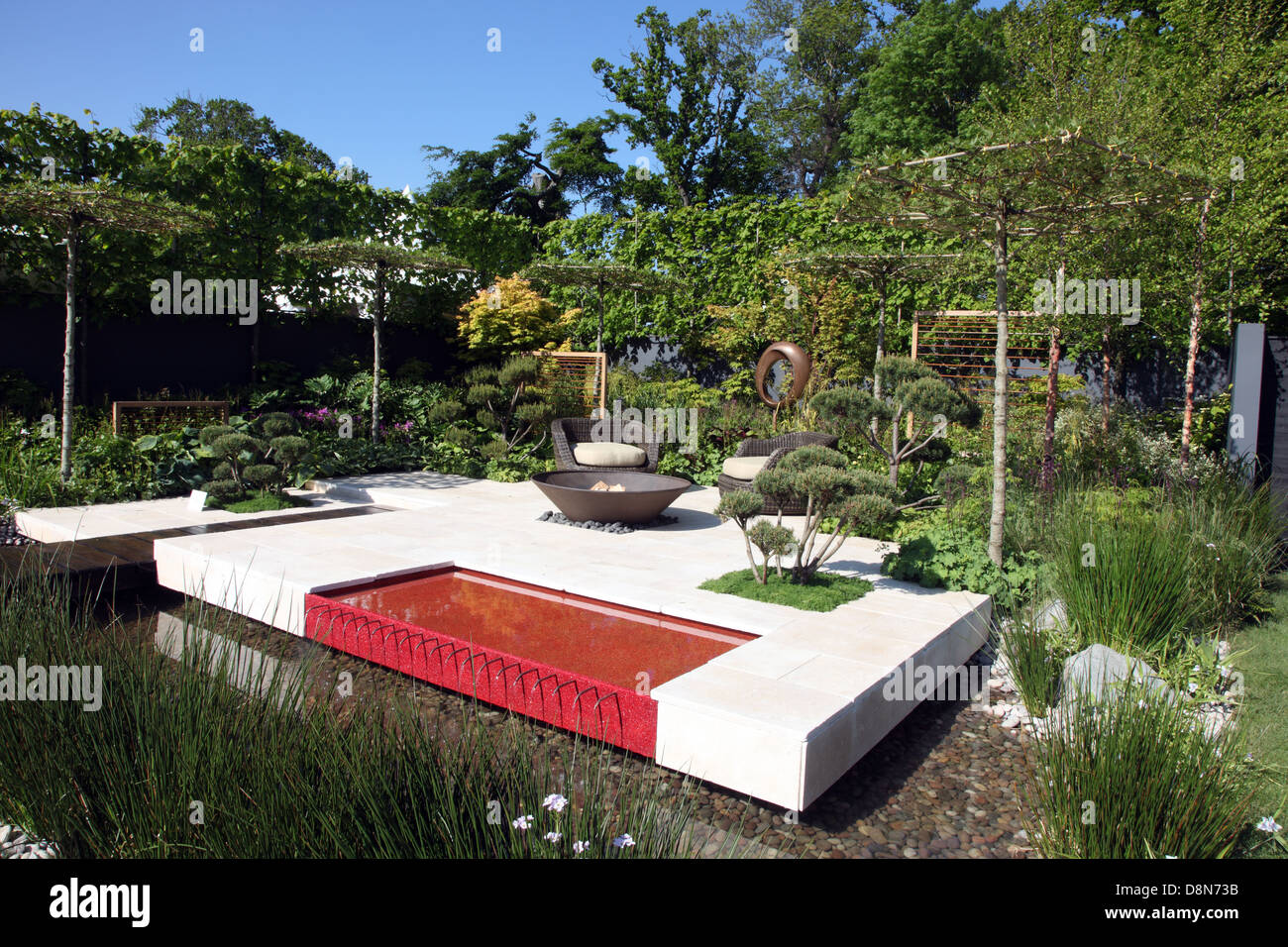 Riverside Calm, show garden by Kevin Dennis and Michael Carroll, shown at Bloom 2013, Ireland's premier garden - Stock Image