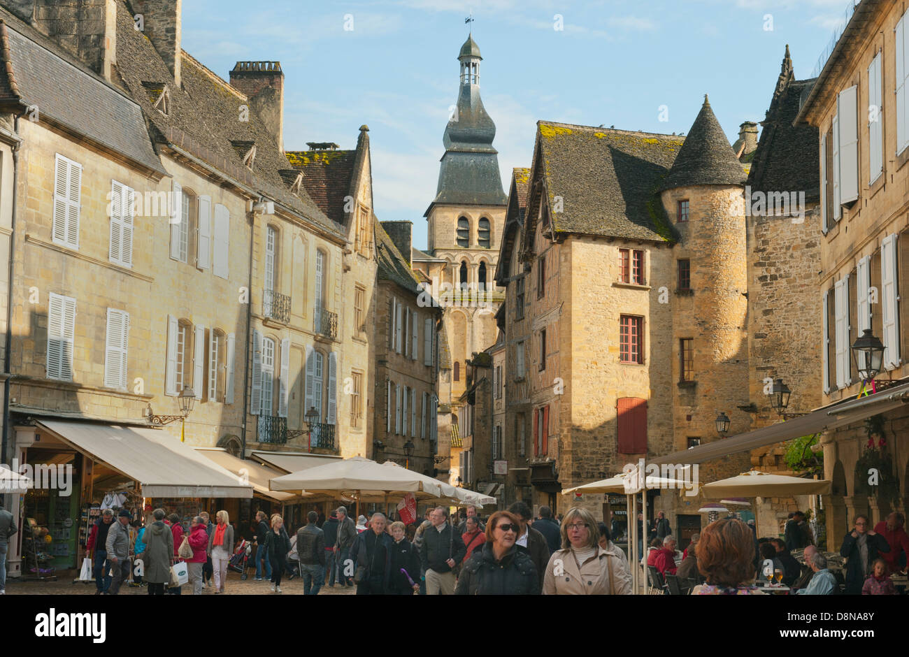 Market Square, Sarlat-la-Canéda, Dordogne FRANCE, well-preserved medieval town - Stock Image