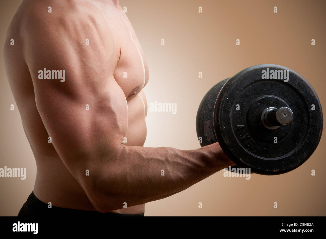 Personal Trainer doing standing dumbbell curls for training his biceps - Stock Image