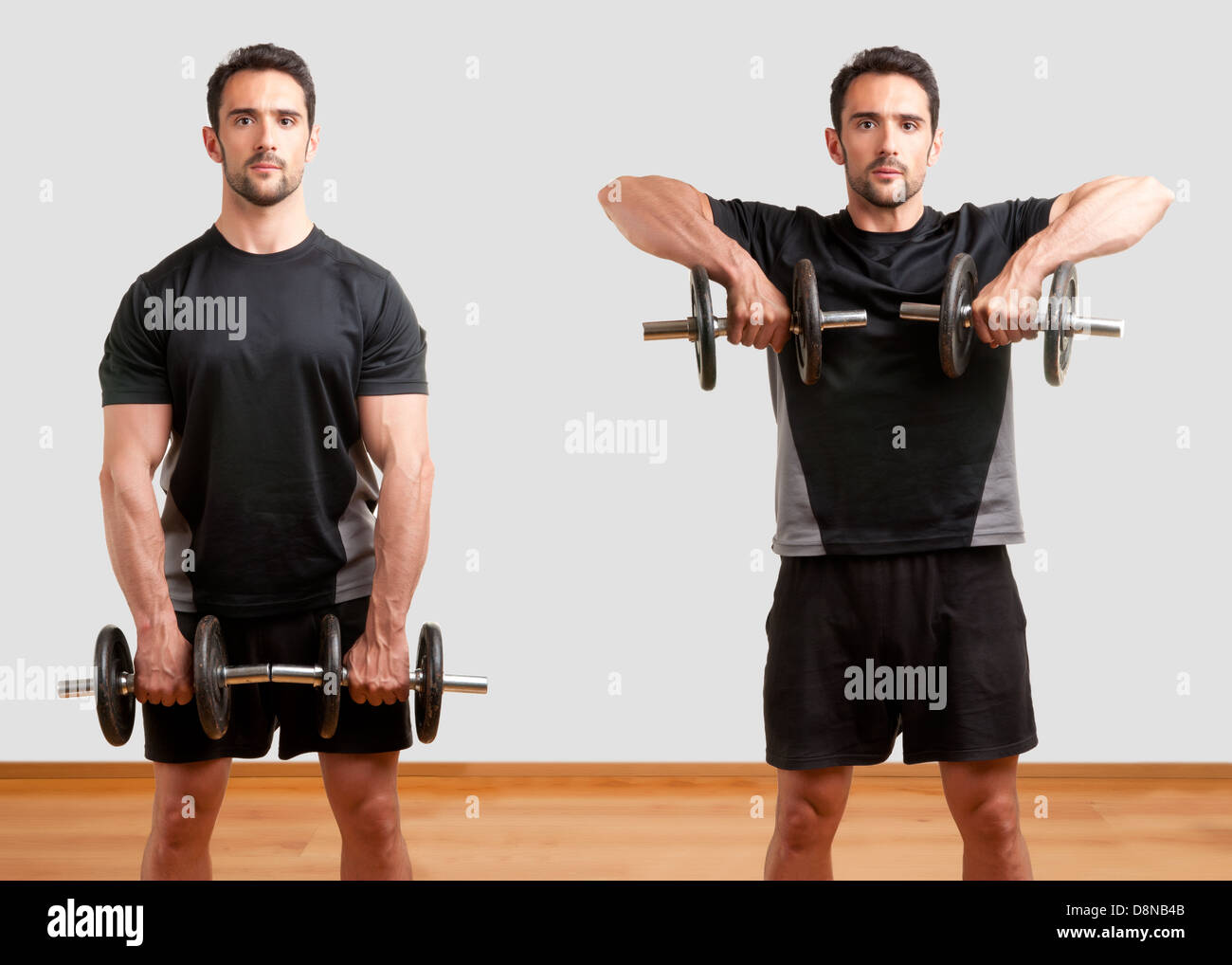 Personal Trainer doing dumbbell upright row for training his deltoids Stock Photo