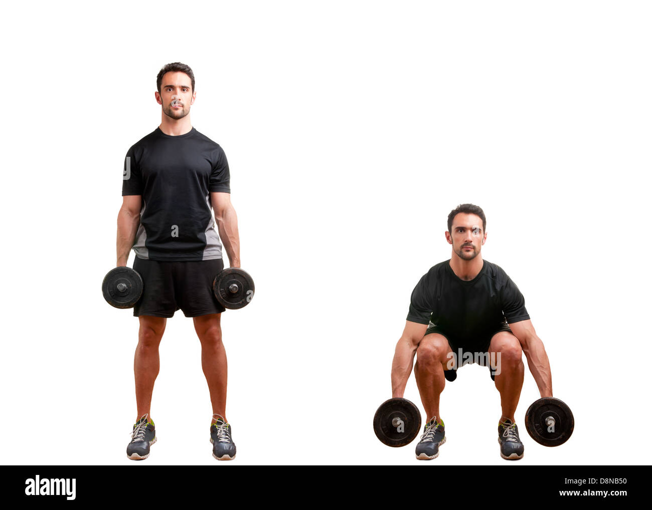 Personal Trainer doing dumbbell squat for training his legs, isolated in white - Stock Image