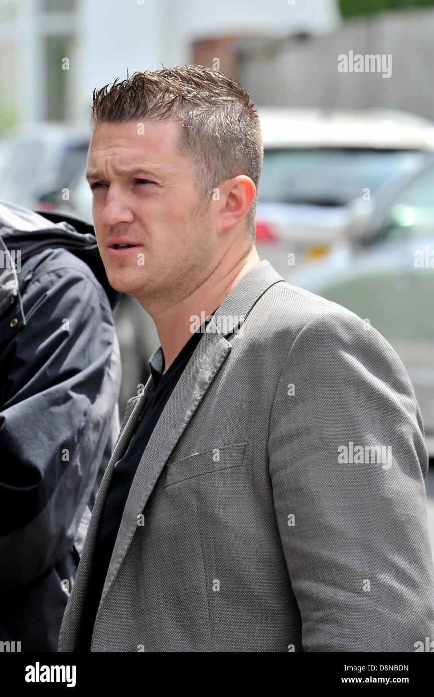 LUTON, UK. 1st June 2013. Photo shows EDL leader Tommy Robinson (real name Stephen Yaxley-Lennon). The English Defence - Stock Image